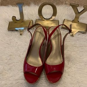 Marc Fisher Red Patent Cork Wedge Sandals